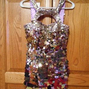NWT Sherri Hill Formal Dress Size 0 Gold Sequins